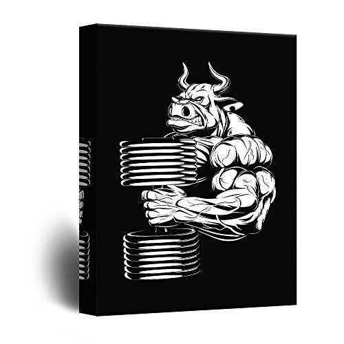 wall26 – Canvas Wall Art – Bull Holding Dumbbell Fitness Body Building Pop Art – Giclee Print Gallery Wrap Modern Home Decor Ready to Hang – 32×48 inches