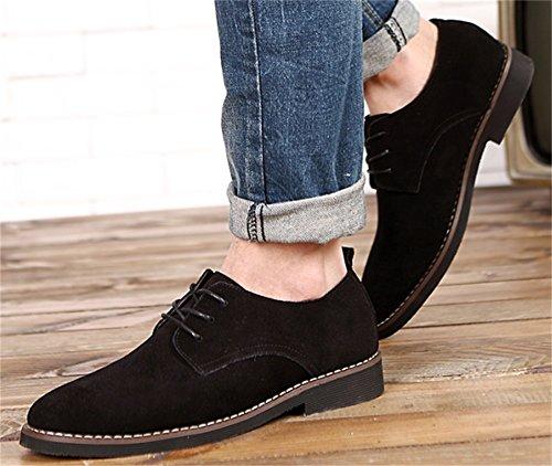 DADAWEN Herren Wildleder Schuhe Schnürhalbschuhe Casual Oxfords Schwarz