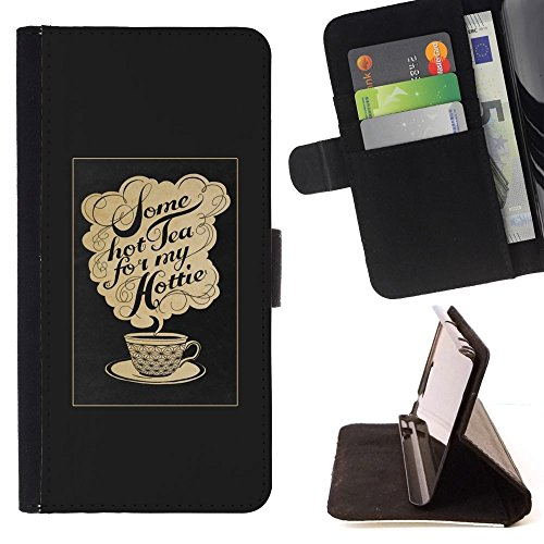 Beige Text Tea Cup Caf? - Colorful Pattern Flip Wallet Leather Holster Holster Protective Skin Case Cover For Apple (5.5 inches!!!) iPhone 6+ Plus / 6S+ Plus ()