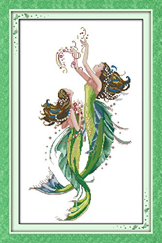 "Cross Stitch Embroidery Starter Kit including 17/""x26/"" 14 Count classic reserve Aida colored threads and tools The Mermaids No Frame"