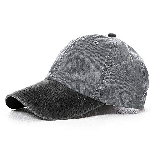 Vankerful Unisex Washed Cotton Baseball Cap Dad Hat Pigment Dyed Two Tone Low Profile Adjustable Six Panel Cap Sun Cap Black Grey
