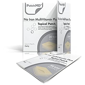 PatchMD No Iron Multivitamin Plus™ 30 Daily Topical Patches  100% Natural &  Vegan  Allergy & Filler Free  High Absorption More bioavailable  Suitable
