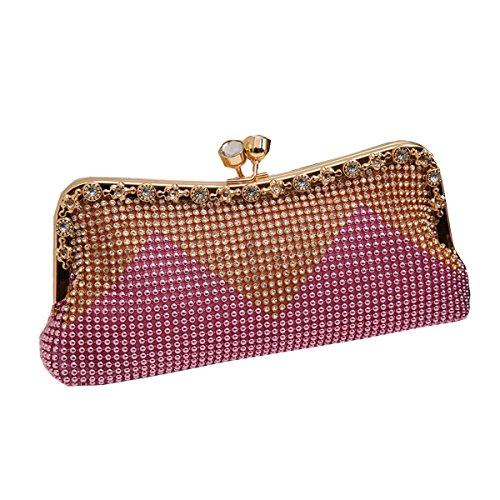 Cascading Di Strass Faux Pink Perla Frizione Sera Borsa Delle Donne Moda Bead 4nTpO