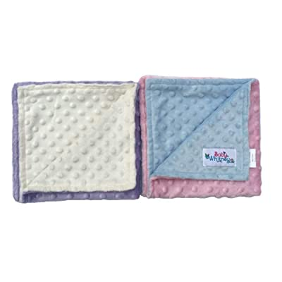 """Pink & Lavender Minky Dot Reversible 17"""" Square Baby Doll Blankets, 2 Pack Set: Toys & Games"""
