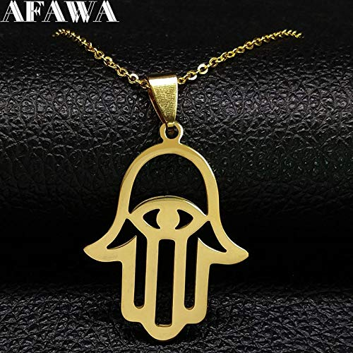 Davitu Hamsa Hand Stainless Steel Chain Necklace for Women Gold Color Necklaces /& Pendants Jewelry gargantillas Mujer Moda N1850
