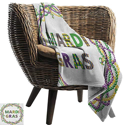 AndyTours Luxury Flannel Fleece Blanket,Mardi Gras,Vivid Beads Circular Frame with Lettering Traditional Patterns Print, Purple Green Yellow,All Season Light Weight Living Room/Bedroom -