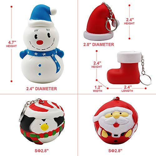 Christmas Squishies Pack Toddler Toy – CREFUN (2018 Limited Edition) Gifts for Christmas Tree Ornament, Kid Toy, Stress Relief, Including 5 Pcs: Snowman Santa Ball Hat Stocking Penguin, Super Slow Ris