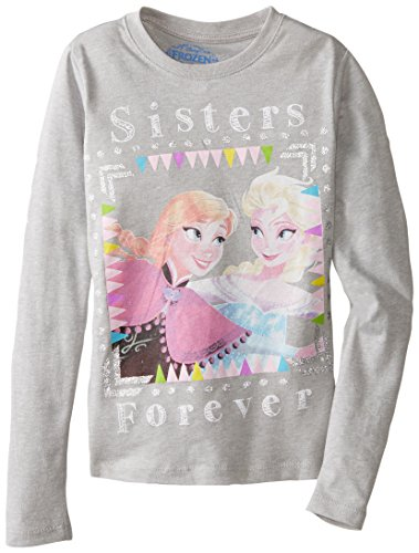Disney Little Girls' Frozen Anna and Elsa Sisters Forever T-Shirt, Heather Grey, 5/6