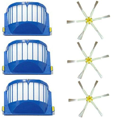 Vac de 500nmh 3 Aerovac de filtro, 3 Cepillos laterales con 6 brazos, compatible con iRobot Roomba serie R3 500 510 521 530 531 532 534 535 536 540 550 551 555&