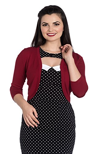 Hell Bunny Maggie Bolero Vintage Retro Cardigan Rockabilly 50's Knit Retro Top - Red (2XL)