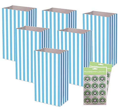 MBB Pale Blue Pick n Mix Bags Sticker Seals ~ Birthday Party Candy Stripe Large Thick Paper Sweet Bag (60 Bags)