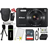 Nikon Coolpix S7000 16 MP Digital Camera with 20x Optical Image Stabilized Zoom 3-Inch LCD (Black) + 32GB Memory Card + Memory Card Reader + Camera Case + DigitalAndMore Accessory Bundle