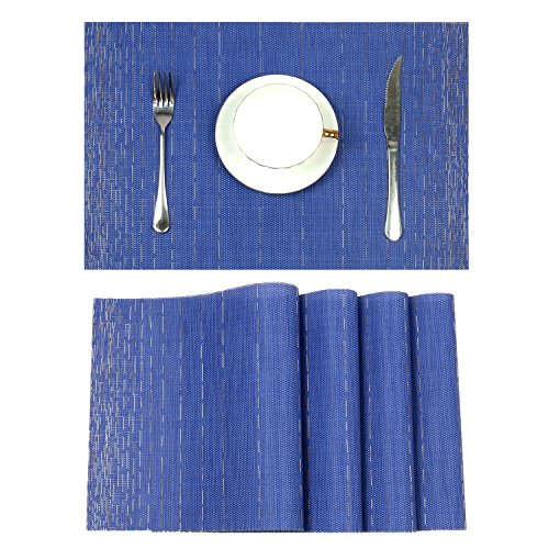 Pauwer Placemats for Dining Table Heat resistant Stain Resistant Washable PVC Placemats Set of 6 Kitchen Table Place Mats Woven Vinyl Placemats (Blue, Set of 6)