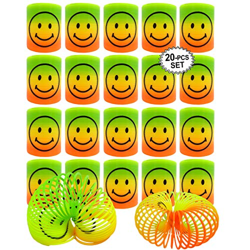 (Mini Smiley Face Magic Slinky Rainbow Springs Colorful Assorted Children's Toy Party Bag Favors)