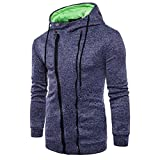 Clearance Deals Mens Fashion Personality Hoodie Sweatshirt - vermers Men's Casual Long Sleeve Zipper Hooded Outwear Tops(3XL, Navy)