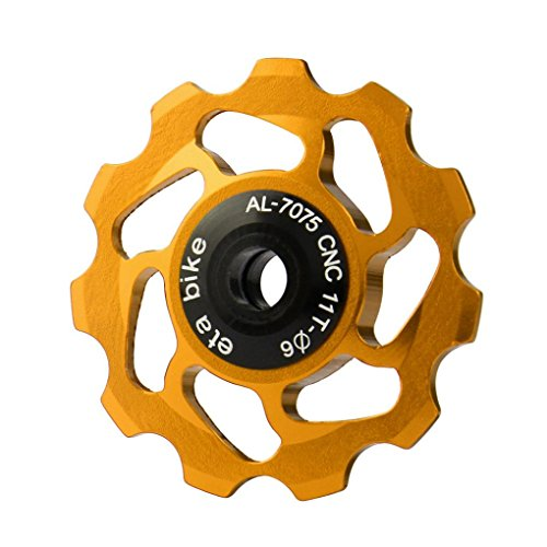 Spindle Ceramic Bearing - Ecosin Fashion 11T MTB Ceramic Bearing Jockey Wheel Pulley Road Bike Bicycle Rear Derailleur (Gold)