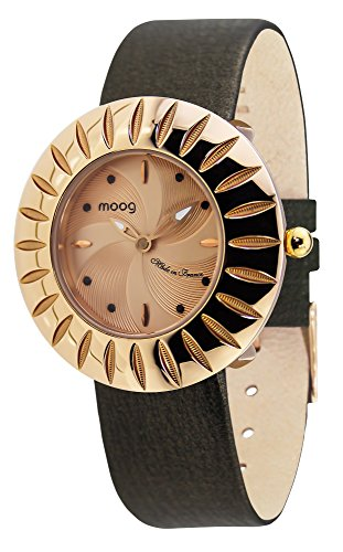 (Moog Paris Petale Women's Watch with Rose Gold Dial, Black Genuine Leather Strap & Swarovski Elements - M45582-006)