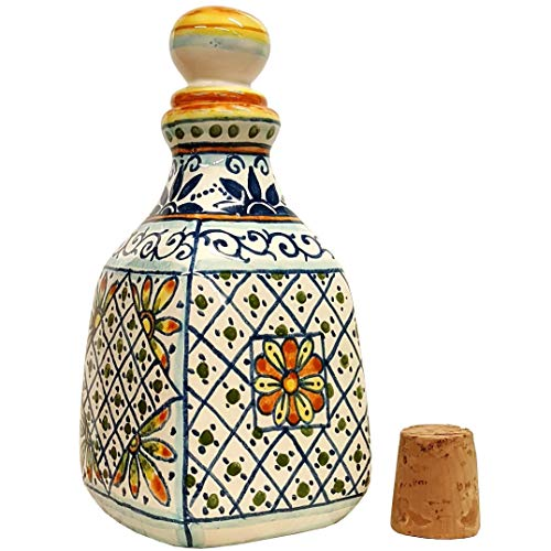 CERAMICHE D'ARTE PARRINI- Italian Ceramic Vase Flowers Bottle Perfumer Environment Ornaments Decorated Geometric Hand Painted Made in ITALY Tuscan Art ()