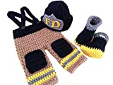 CX-Queen Baby Photography Prop Handmade Crochet Knit Fireman Caps Pants Boots set