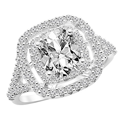 1.6 Ctw 14K White Gold GIA Certified Cushion Cut Cushion Double Row Halo Split Shank Diamond Engagement Ring, 1 Ct G-H I1 Center - Diamond Split Shank Ring