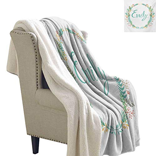 Sunnyhome Emily Throw Blanket 60x78 Inch Composition of Popular English Girl Name with Vintage Design Inspirations Leaves Cozy, All-Season Berber Fleece Throw Blanket ()