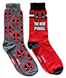 marvel man socks - Marvel Deadpool Men's Crew Socks 2 Pair Pack Shoe Size 6-12 (Charcoal/Red)