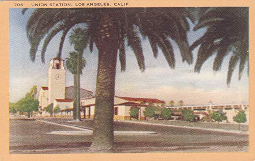 350VINT03 706:- A 1944 UNION STATION, LOS ANGELES, CALIFORNIA IN 1944 VINTAGE COLLECTIBLE ANTIQUE POSTCARD from HIBISCUS EXPRESS -THIS POSTCARD IS 5 1/2