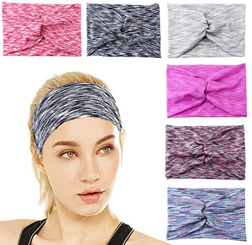 FIBO STEEL 6 Pcs Headbands Women Girls Wide Boho Knotted Yoga Head Wrap Hair Band - Cotton Spandex Headband
