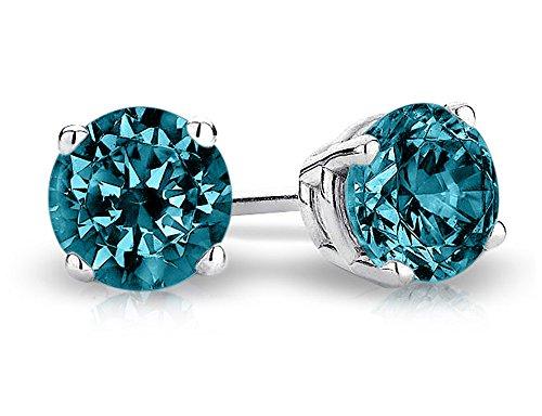 1/2 Carat (ctw I2-I3) Blue Diamond Solitaire Stud Earrings in 14K White ()