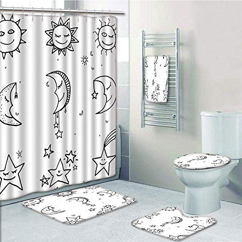 Bathroom 5 Piece Set shower curtain 3d print Multi Style,Sketchy,Hand Drawn Image of Sun Moon Stars Emoji Kids Nursery Room Art Print Image,Black and White,Bath Mat,Bathroom Carpet Rug,Non-Slip,Bath T