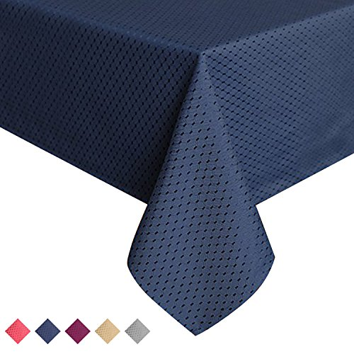ColorBird Elegant Waffle Jacquard Tablecloth Waterproof Table Cover for Kitchen Dinning Tabletop Decor (Rectangle/Oblong, 60 x 84 Inch, Navy Blue) (Oblong Tablecloth)