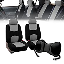 FH GROUP FH-FB050102 + V16404FRONT: Gray Modern Flat Cloth Bucket Seat Covers and Gray Vinyl Front Floor Mats- Fit Most Car, Truck, Suv, or Van