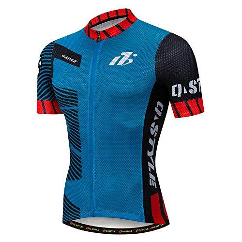 AKAAYUKO Cycling Jersey Men Short Sleeve Breathable Quick Dry with 3 Rear  Pockets Silicone Hem Full Zip Bike Biking Shirt 40b042f6d