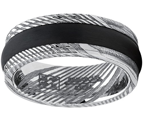 Metal Masters Co. Men's Real Ribbed Damascus Steel Ring Comfort Fit Band with Solid Carbon Fiber Wedge Inlay 8mm 13