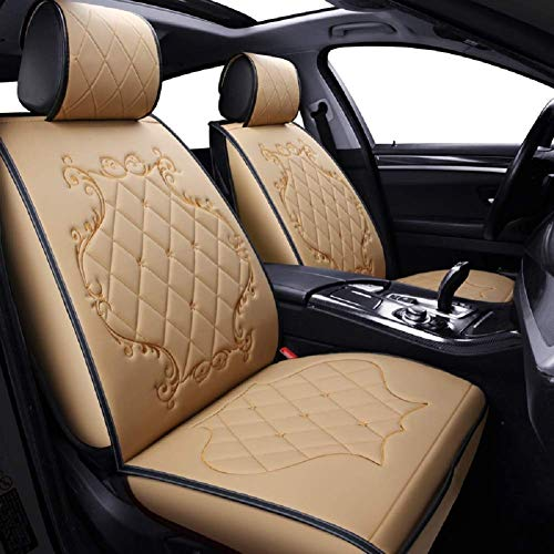 Car Seat Covers Leather Seats Car PU Leather And 3D Breathable Fabric Automotive Front And Back Seat Protectors Scratch Proof Nonslip Auto Accessories (Color : Beige):