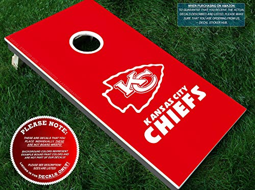 Chiefs Cornhole Decals | COLOR CHOICE | Half Set Three (3) Vinyl Decals for DIY Board Building & Decorating | Decal Sticker ()
