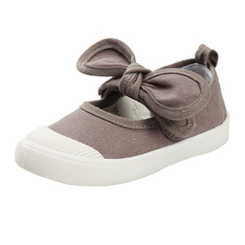 Estamico Girls Princess Bowknot Canvas Shoes Slip-on Mary Jane Flats Sneakers Gray, 7 M US Toddler