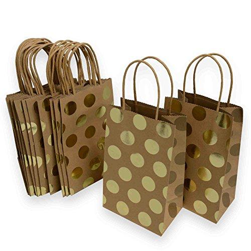 Kraft Gift Bags, foil hot-stamp polka-dot Design, 15 Small bags, 5 1/4