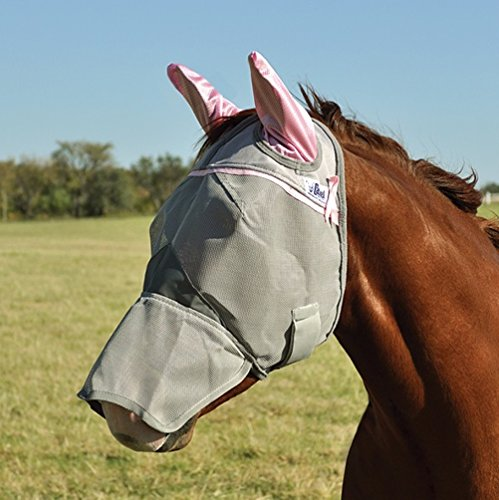 Cashel Crusader Fly Mask Covers Nose and Ears, with Pink Ears and Trim, Benefits Breast Cancer - Size: - Cashel Pink Fly Mask