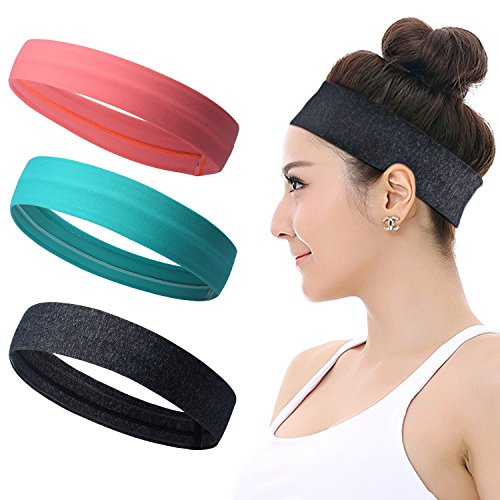 Workout Headbands for Women Men - Silicone Grip Non slip Yoga Sweatbands, Stretchy Soft Running Wicking Head Sweat Band Set, Elastic Exercise Hair wrap, Sports Fitness Tennis Gym Athletic (Exercise Headband Underarmour)