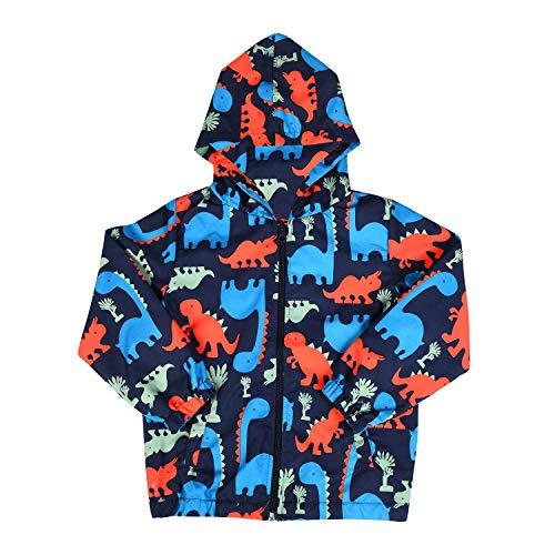 Little Baby Boys Cool Cartoon Dinosaur Printed Zip Hooded Jackets Sport Coat Outerwear Windbreaker for Toddler