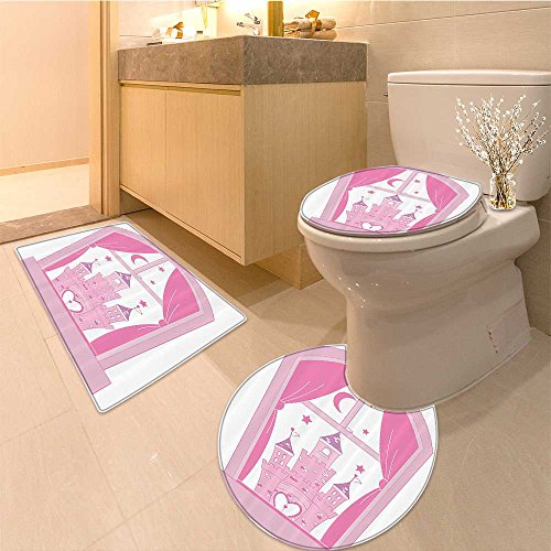 3 Piece Toilet lid cover mat set Collection Princess Sleeps in Bed Fairytale Butterfly Bouquet Unicorn Image Fabric w Very Absorbent Bathroom Bath Mat Contour Rug - Bouquets Images
