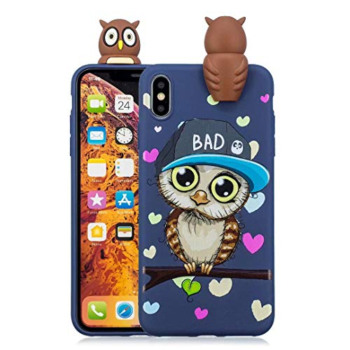 iPhone Xs Max Case for Kids Girls Teen boy Guys, Tznzxm Funny Girly 3D Cartoon Animal Character Design So Cute Lovely Soft Silicone Case Cover for Apple iPhone Xs Max ()