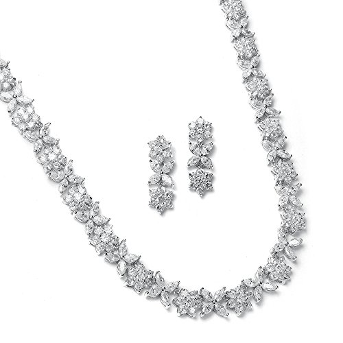Marquis Diamond Pendant - Mariell CZ Necklace and Earring Set with Marquis Flowers - Luxe Wedding Bridal Statement Necklace Set