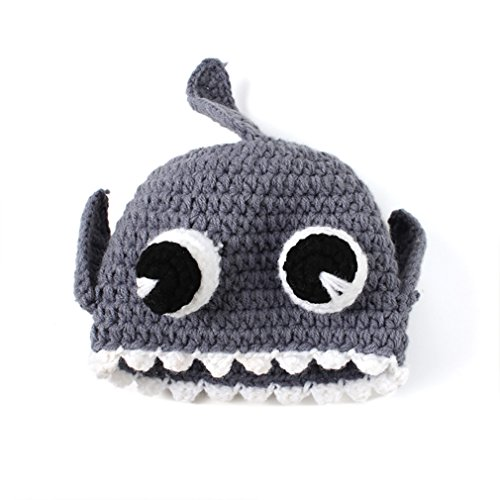 Youngate Lovely Shark Style Newborn Baby Infant Crochet Weaving Hat Cap Photo Shoot (0-3 Months-Hat Circumference:14.5-15.3inch/37-39cm, ()