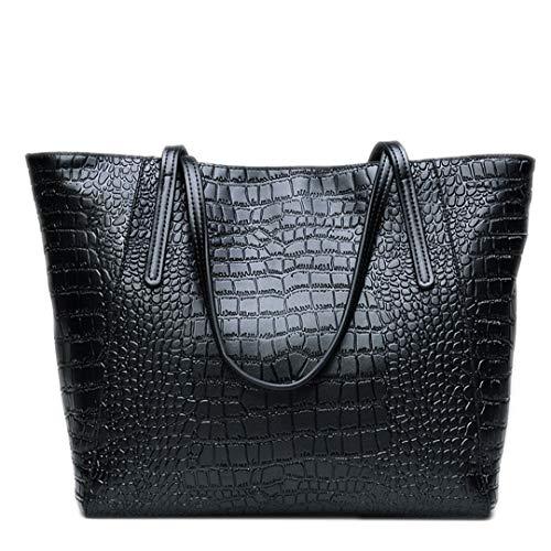 en luxe pour de cuir main femmes de Sacs cuir style bandoulière véritable Sacs à en à Black 8qwOIBIXx