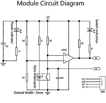 ZHITING 5 St/ück LM393 Chip Motor Messkomparator Drehzahlsensor Modul Steckplatz Typ IR Optokoppler f/ür MCU Arduino