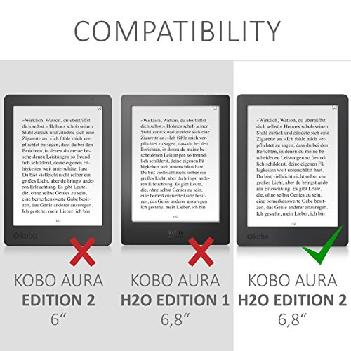 kwmobile Origami Case Compatible with Kobo Aura H2O Edition 2 - Ultra Slim Fit PU Leather Cover with Stand - Black