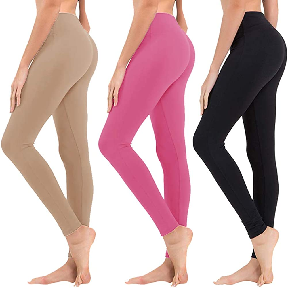 High Waisted Leggings for Women - Soft Athletic Tummy Control Pants for Running Cycling Yoga Workout - Reg & Plus Size: Clothing