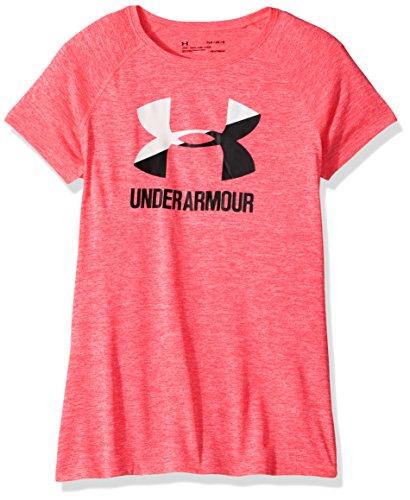 Under Armour Girls' Novelty Big Logo Short Sleeve T-Shirt,Penta Pink /Black, Youth Small - Pink Logo Girl